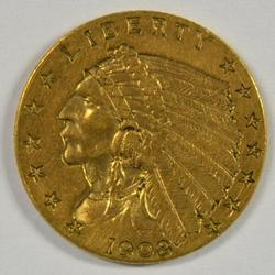 Pleasant 1908 US $2.50 Indian Gold Piece