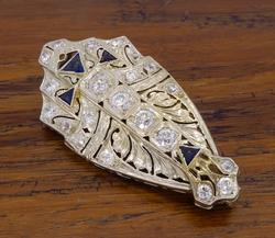 Extremely Intricate Vintage Diamond & Sapphire Brooch