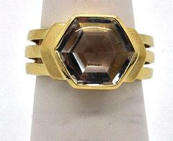 LADIES 14 KT YELLOW GOLD AQUA MARINE RING.