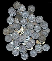 Bagful of 100 nice circulated Mercury Head Silver Dimes
