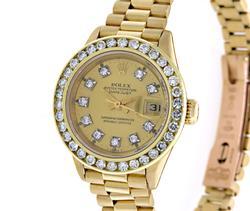 Rolex Ladies President, Aftermarket Diamond Dial/Bezel