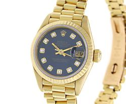 Rolex Ladies President, Aftermarket Blue Diamond Dial