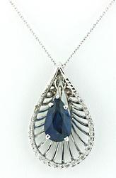 2.63 CTW Sapphire & Diamond Pendant Necklace