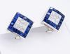 18K White Gold Diamond and Sapphire Earrings
