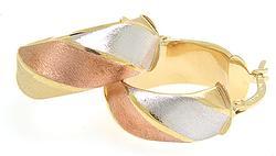 Tri Tone Gold Earrings