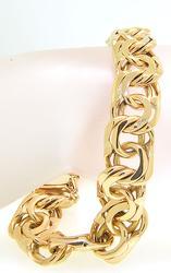Heavy Mens Double Links 18kt Gold Bracelet