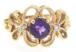 Ladies Butterfly Motif Amethyst Ring w. Diamonds