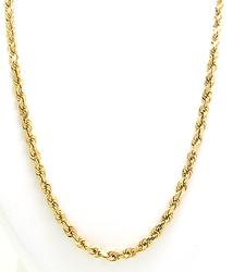 20 Inch Gold Rope Chain, 3mm