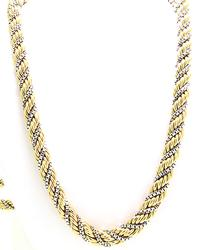 Unique Yellow Gold Rope Chain Wrapped w White Gold Box