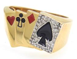 Mens Gold Card Player Ring