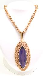 10CT Amethyst Pendant on Antique Chain