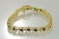 10K Gold 3.75 Ctw Diamond Sapphire Tennis Bracelet