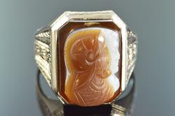 Vintage White Gold Intaglio Hand Engraved Soldier Ring