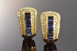 Premium Quality 14kt Gold Sapphire & Diamond Earrings
