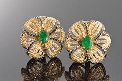 Flower Design 3+ctw Emerald & Diamond Earrings