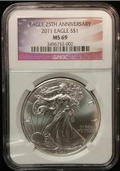 Certified Silver Eagle 2011 MS69 NGC