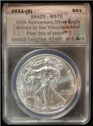 Certified Silver Eagle 2011-s MS70 ANACS