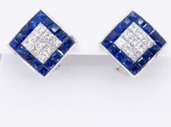 18K White Gold Diamond and Sapphire Earrings