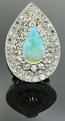 Pave Diamonds & Opal Ring