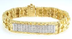 Gold Nugget Style Bracelet with Diamond Bar