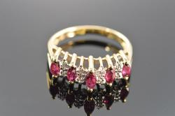 14K Gold Ruby & Diamond Waterfall Ring
