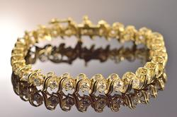 14K Yellow Gold 4.98 Ctw Round Diamond Tennis Bracelet