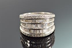 Extremely Fine Diamond Baguette Round Ring