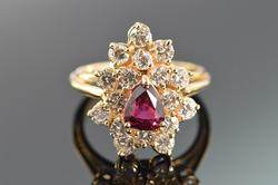 14K Yellow Gold Rube and Diamond Ring