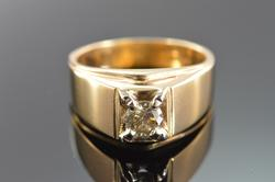 14K Yellow Gold 0.75 Ct Diamond Solitaire Men's Ring