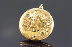 Art Nouveau Flowing Hair Woman Photo Locket Pendant