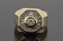 14K Yellow Gold 1.70 Ctw Diamond Starburst Men's Ring