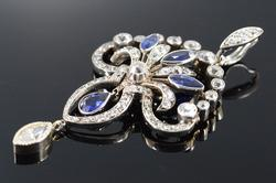 Platinum Art Deco 3.29 Ctw Sapphire Diamond Pendant