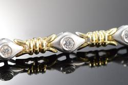 Diamond Teardrop Tennis Bracelet, Two Tone Gold