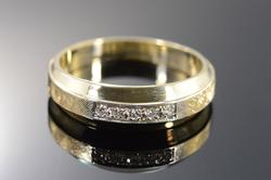 14K Gold Diamond Cross Hatch Wedding Band Men's Ring
