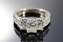 14K White Gold 3+Carat  Radiant Diamond Engagement Ring