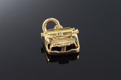 14K Gold Vintage 3D Articulated Typewriter Charm
