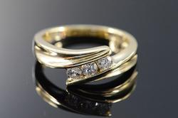 14K Gold Channel Set Diamond Bypass Ring