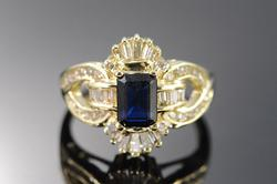 1.25 Ct Sapphire Diamond Cocktail Ring