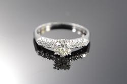 Platinum European Cut Diamond Engagement Ring