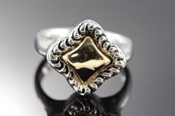Sterling Silver/14K Gold Designer Rope Motif Ring