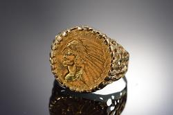 14K Gold 1910 $2.50 Indian US Gold Coin Nugget Ring