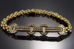18K Yellow Gold 1.1 Ctw Diamond Link Tennis Bracelet