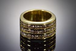 18K Yellow Gold Diamond Channel Set Wedding Band Ring
