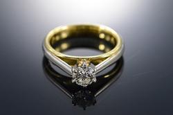 Platinum/18K Gold Diamond Solitaire Engagement Ring