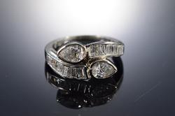 14K White Gold Pear Shaped Diamond Engagement Ring