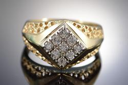 14K Gold Diamond Men's Bling Ring