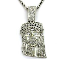 Unisex Diamond Jesus Medallion
