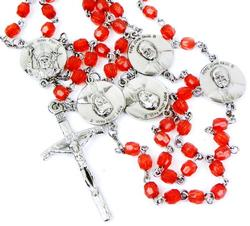 Vintage Red Crystal Rosary with Pope Medallions