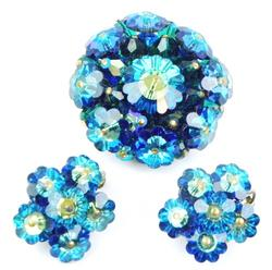 Vintage Iridescent Carved Glass Flower Brooch & Earrings