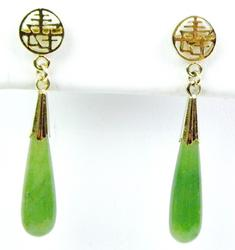 Chinese Jade Gold-Filled Dangle Earrings